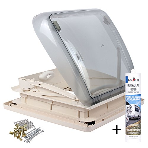 Dometic Mini Heki 40 x 40 Dachstärke 43 - 60 mm Zwangsbelüftung + Dekalin Dichmittel für Wohnwagen oder Wohnmobil