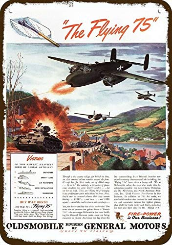 Laptopo 1944 Oldsmobile Vintage Look Replica Metal Sign Flying 75 B-25 Bomber Shoot Tank -