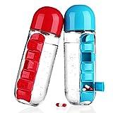 #1: Inovera Medicine Pill Organiser Water Bottle Pill Case Bottle, Assorted Colour