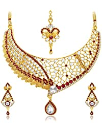 Sukkhi Dazzling Gold Plated AD And Kundan Necklace Set For Women