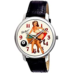 Vintage Pinup Raunchy Art POOL PLAYER'S Collectible Wrist Watch. Large 38 mm!
