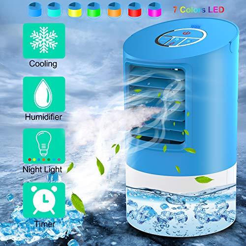 Refroidisseur d'air | Mini climatiseur | Climatiseur portable 3 en 1 | 3 Vitesses | 7 Couleurs, Bleu