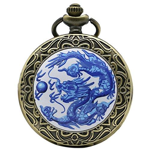 Blau Chinese Dragon mit kunstvollem Bordüre Bronze Effekt Antik/Vintage Case Herren Quarz-Taschenuhr Halskette–auf 81,3cm Zoll/80cm...