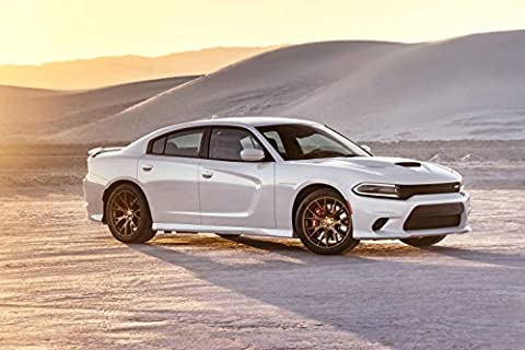 Classique et muscle car ADS et Art de voiture Dodge Charger Srt Hellcat (2015) voiture Art Poster imprimé sur papier d'archives en satin blanc 10 mm SDE statique de Vue, Papier, White Sde Static View, 24
