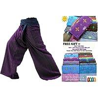 Molto bello 2 TONE Thai fisherman pants pantaloni da yoga formato libero Plus SIZE drill di cotone a strisce con gratuito