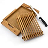 Tabla de cortar de bambú con compartimento para migas + Cuchillo pan