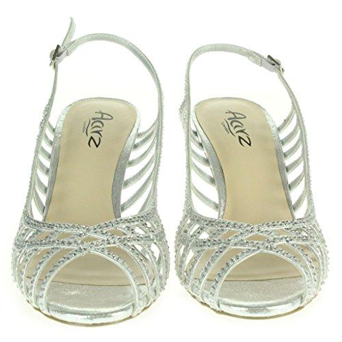 Frau Damen Diamante Trimmen Peeptoe Slingback Abend Braut Hochzeit Party Prom Hoch Absatz Sandalen Schuhe Größe Silber
