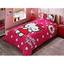 Original Juego de Funda de Edredón, diseño de Hello Kitty rosa, Para Cama individual, 100% algodón, 3 Piezas (funda de edredón + sábana ajustable + funda almohada)
