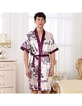 Andensoner Mangas Cortas para Hombres Flores Impresas Vestidos Camisón Pijamas Albornoz Perfecto