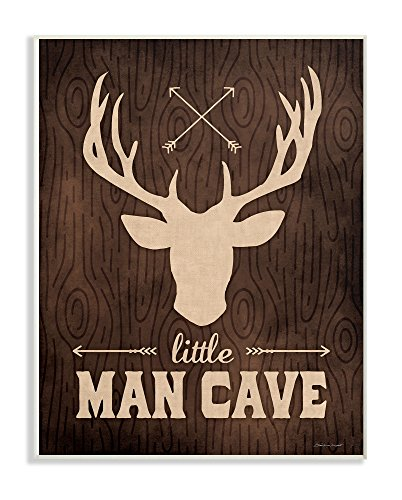 Die Stupell Home Decor Kollektion Little Man Cave Elch Getreide Wandschild Art, Holz, Mehrfarbig, 25,4 x 64.52 X 38,1 cm Usa Getreide