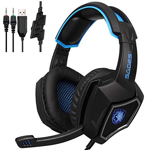 ZENWEN Computer Spiele Esports Kopfhörer Kopfhörer 3,5 mm Schnur Bass Stereo-Mikrofon für PS4 Xbox One PC (Bl live Gaming-Kopfhörer, ACK-Blue) (Xbox Schnüre)