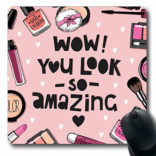 Luancrop Mousepads Pflege Rosa Lippenstift Kosmetik Nagellack Set Aquarell Puderquaste Lidschatten Kunst rutschfeste Gaming Mauspad Gummi Längliche Matte