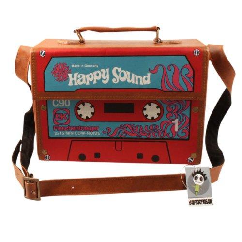 Superfreak® Tasche Kofferradio - Happy Sound Kassette Tape°Boombox°Radiotasche, Farbe: braun