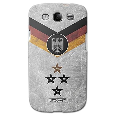 Urcover® Samsung Galaxy S3 WM 2018 Hülle [ TEAM Deutschland ] Fussball Handyhülle | Fußball Schutzhülle | Sport Case | TPU / Silikonhülle Cover | Weltmeisterschaft 2018 Backcase Fahne Fanartikel | Smartphone Zubehör Tasche mit Staubschutzkappe