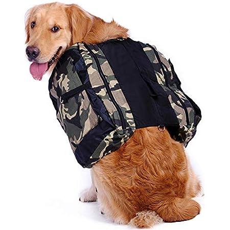 Hengu Großer Hunderucksack, Verstellbare wasserdichte Schultertasche Satteltasche Radtasche Hundegeschirr Rucksack Weste für Große Hunde Outdoor Reisen Wandern Camping Zelten
