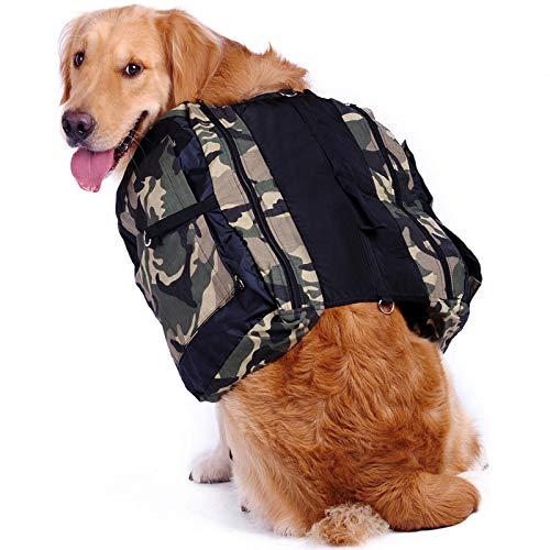 Hengu Großer Hunderucksack, Verstellbare Schultertasche Satteltasche Radtasche Hundegeschirr Rucksack Weste für Große Hunde Outdoor Reisen Wandern Camping Zelten (Mit einem Tragbare Wasserschale)