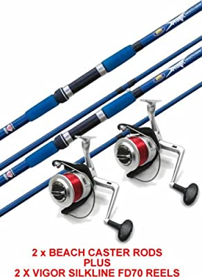 2 x VIGOR 12FT BEACH CASTER SEA RODS 4oz / 12oz & 2 x SILKLINE FD70 REELS from LINEAEFFE