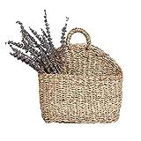 PROKTH Cesta de paja de pared tejida a mano, jardinera, cesta de almacenamiento para pan de frutas, cesta para accesorios de fotografía, decoración de pared
