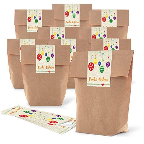 10 große braune Ostertüten Geschenktüten 19 x 29,5 x 7,5 cm + 10 Osteraufkleber BUNTE EIER FROHE Ostern blau rot grün gelb Geschenk Verpackung give-away Präsente Kunden Kinder Tüten