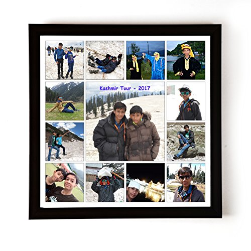 AJANTA ROYAL Personalized Synthetic Wood Photo Collage (12x12-inches,Black)