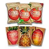 Getrocknete Früchte I Tomatenchips I 6er Set I Süß und Salzig I Frucht Snack aus Apfel, Mango, Ananas, Erdbeere I Chips aus Tomaten I Luftgetrocknet I Trockenobst