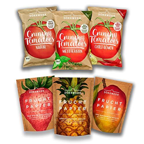 Getrocknete Früchte I Tomatenchips I 6er Set I Süß und Salzig I Frucht Snack aus Apfel, Mango, Ananas, Erdbeere I Chips aus Tomaten I Luftgetrocknet I Trockenobst Chips Set