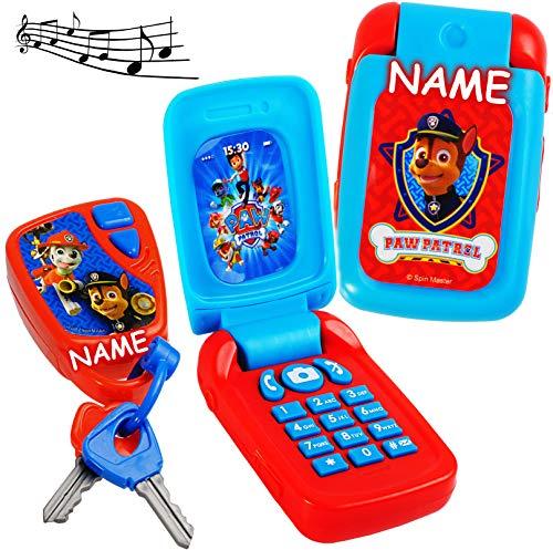 2 TLG. Set _ Handy & Schlüssel - mit Sound - Paw Patrol - Hunde - inkl. Name - für Kinder / Auto - elektrisches Kinderhandy klappen - Autoschlüssel - Kindersc.. ()