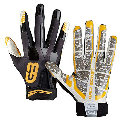 GRIP BOOST Stealth Pro Elite American Football Receiver Handschuhe - schwarz/gelb Gr. L