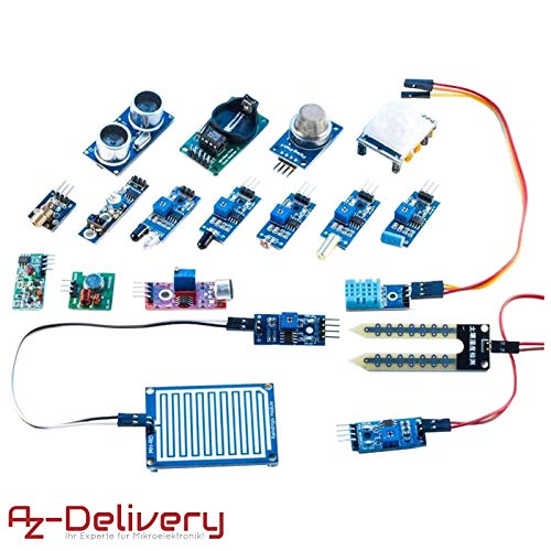AZDelivery ⭐⭐⭐⭐⭐ 16 in 1 Kit Zubehörset mit Sensoren und Modulen mit gratis eBook für Raspberry Pi, Arduino -