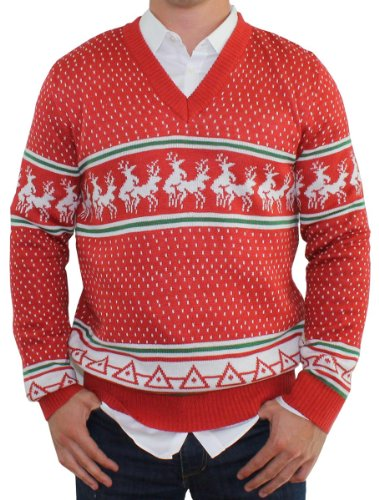 Tipsy Elves Hässlicher Weihnachtspullover - Rentier Polonaise V-Neck