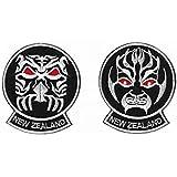 """Máscara de guerreros maoríes nueva Zelanda Hakka hierro o coser en parches (3,5""""/9cm) bordado viajes Badges–envío gratuito."""