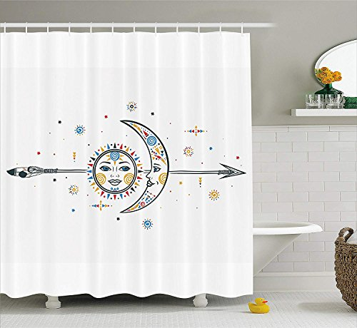 or Shower Curtain, Ethnic Aztec Moon Sun with Spiral Vortex Stars Figures Occult Image, Fabric Bathroom Decor Set with Hooks, 72x72 inches, Multi ()