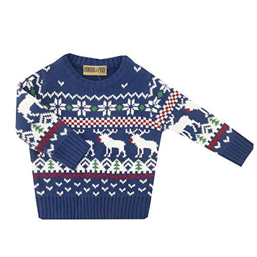 NEU   Jungen Pullover Weihnachten X-Mas blau Rentiere   62 68 74 80 86 92 18-24 Monate (86/92)