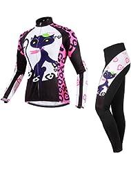 BATFOX de las mujeres traje Jersey de ciclo caliente a prueba de viento y transpirable Fleece Tela Slim Fit Mujer ciclismo conjunto Montaña Profesional bici del camino de la bici de la muchacha del gato del invierno al aire libre Ropa de deporte (Niña Gata, L)