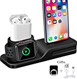 iPhone Airpods iWatch Stand, Wonsidary supporto di ricarica dock station Airpods supporto dock ricarica Holder, Apple Watch Caricabatterie con iPhone Dock per Apple Watch Series 3 2 1 AirPods iPhone X 8 8 Plus 7 6 iPad Mini