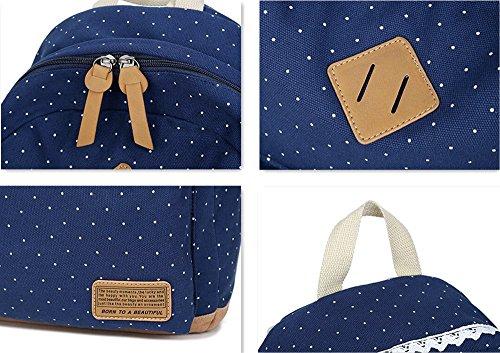 Fashion Mädchen Schulrucksack Damen Canvas Rucksack Teenager Baumwollstoff Schultasche Outdoor Freizeit Daypacks mit Schicker Lace Tiefblau
