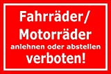 Schild - Fahrräder / Motorräder anlehnen oder abstellen verboten - 30x20cm mit Bohrlöchern | stabile 3mm starke PVC Hartschaumplatte – S00050-047-D +++ in 20 Varianten erhältlich