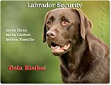 Warnschild - Schild aus Aluminium 20x30cm - Motiv: Labrador Security ( 02 )