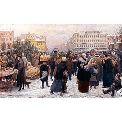 "Stampa artistica / Poster: Heinrich Matvejevich Maniser ""Christmas Market"" - stampa di alta qualità, immagini, poster artistici, 90x55 cm"