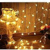 Funkelnder Stern LED Lichterketten, QinTian LED String Licht 10m 100 LED Warmweiß 8 Modi LED Lichterkette Weihnachtsbeleuchtung, für Festival, Party, Zuhause sowie Garten, Balkon, Terrasse, Fenster