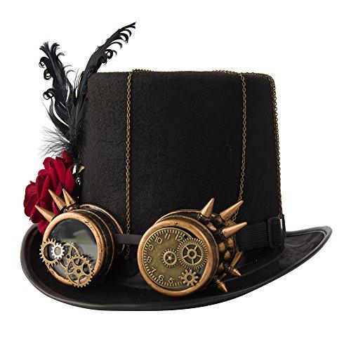 dream cosplay Victoriano Steampunk Sombrero de Copa con Rosa (Circunferencia de la Cabeza 58cm)