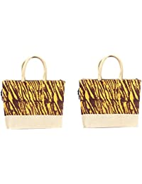 Jute Lunch Bag - Combo Of 2 Shopping Jute Bag With Zip Closer - Multicolor