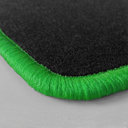 Randfarbe nach Wahl ! Passgenaue Fußmatten aus Nadelfilz mit grünem Rand (504) für Chrysler Jeep Wrangler YJ Baujahr 1990-1996