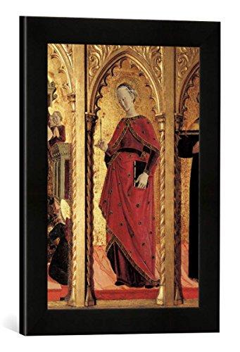 Gerahmtes Bild von Girolamo di Giovanni da Camerino Die Heilige Apollonia, Kunstdruck im hochwertigen handgefertigten Bilder-Rahmen, 30x40 cm, Schwarz matt