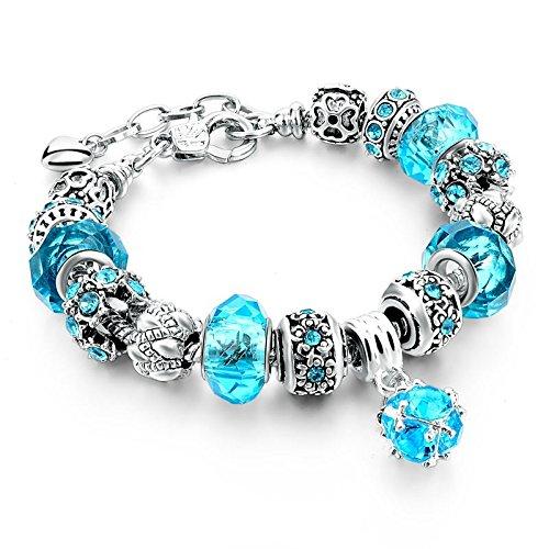 Fabulous Bijoux Braccialetto Charms Platino Placcato con i Ciondolo Perline di Vetro e Cristallo Blu Azzurro e Argento