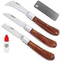 Komplett Gärtner Messerset RH9-3-654 Diamantschleifer + Pflegeöl + Baumschulhippe + Gartenmesser + Okuliermesser (Rosenholz & Edelstahl)