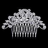 Dooppa - Peigne à cheveux avec fleurs et strass pour femme - Pour un mariage