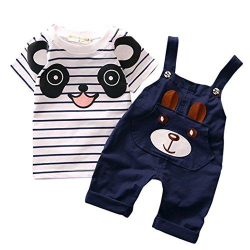 Babybekleidung,Resplend Kinder Baby Karikatur Karikatur Bär Hosenträger 2 Stück Mode Babyanzug Streifen Pullover + Hosen Outfits Set (Marine, 1-2Y) (Set Spitze Zwei Stück)