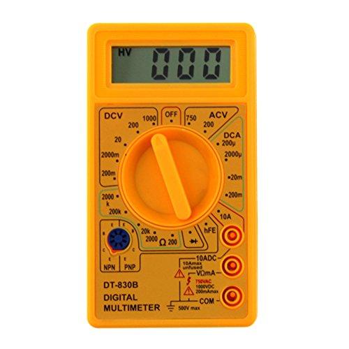 JUNERAIN DT-830B LCD Digital Multimeter AC/DC 750/1000V Amp Volt Ohm Tester Meter, Damen, gelb