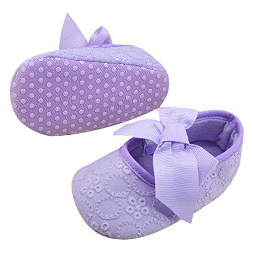 Hunpta Neue Baby jungen Mädchen Schuhe Baumwolle Band Bowknot weichen unteren Blume Prewalker (11, Schwarz) Lila
